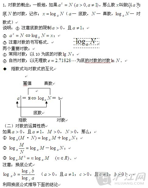 高一数学必修1知识点:对数函数