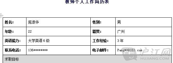 教师个人简历范文(三)[doc格式]图片