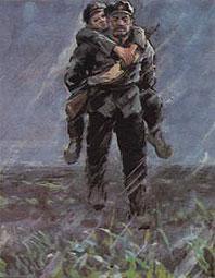 老战士背小战士