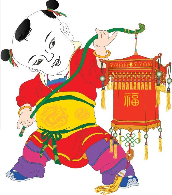 春节动漫插画手绘