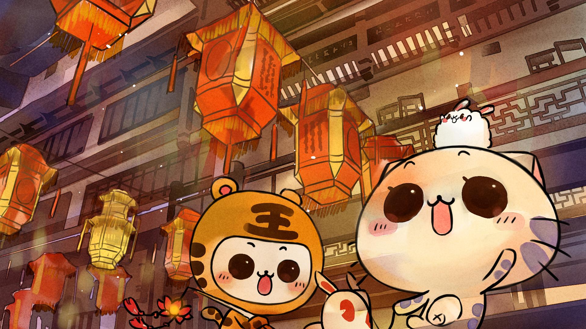 欢喜闹元宵高清节庆壁纸(2); 可爱卡通cc猫高清壁纸; 色1440x900高清