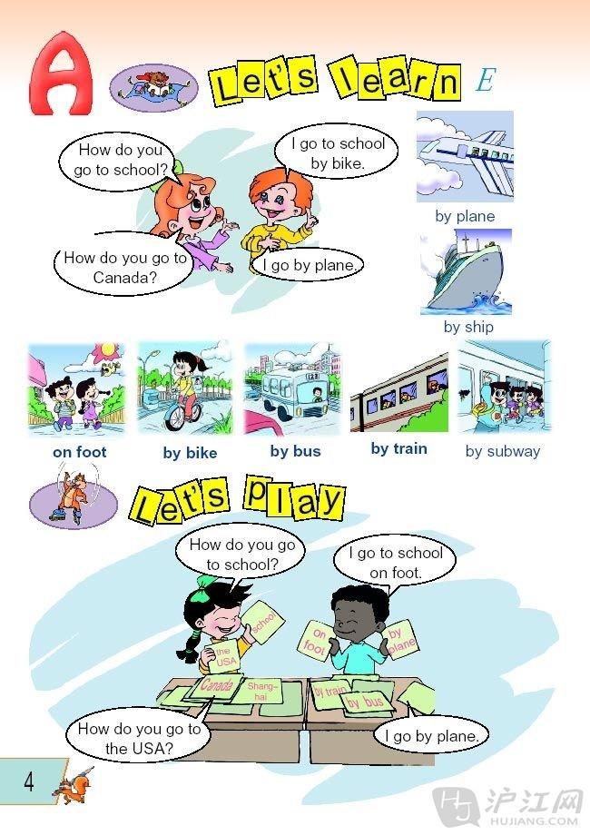 人教版六年级上册英语课本 unit 1 how do you go there高清图片