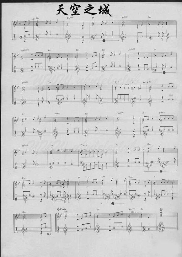 尤克里里_尤克里里曲谱:《天空之城》_ukulele