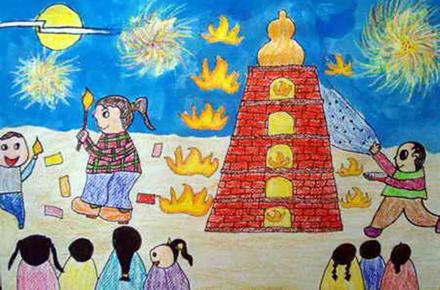 中秋儿童画:中秋晚会