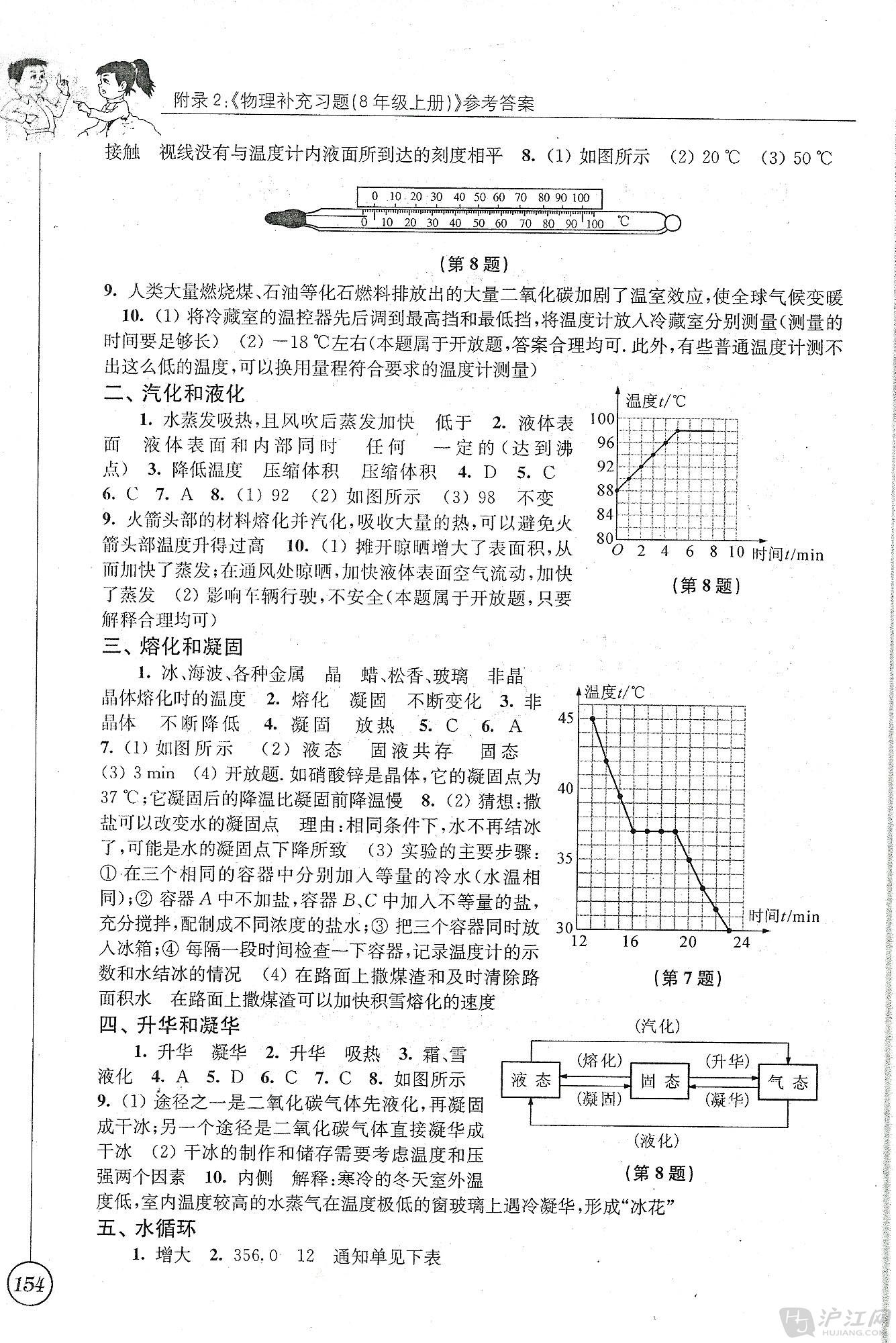 苏科版初二八年级物理补充习题答案