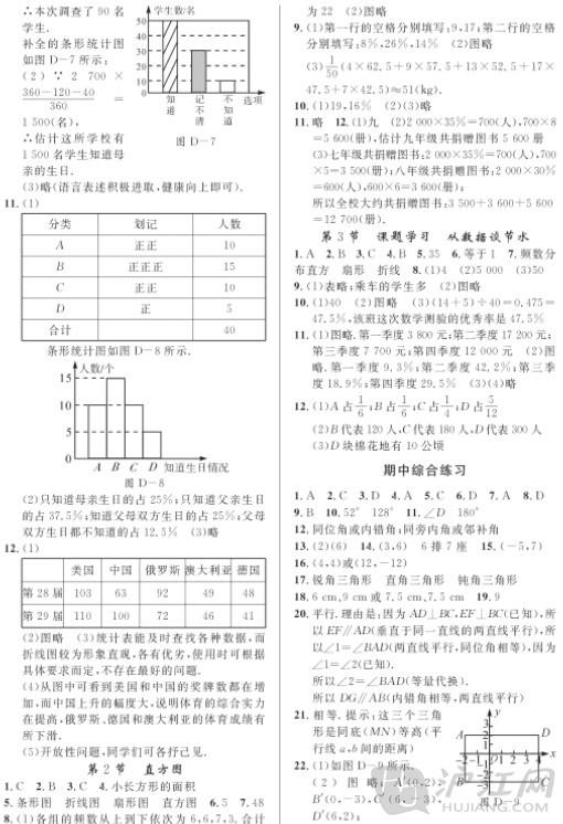 七年级下册数学练习册答案十单元及中期末考试练习题答案