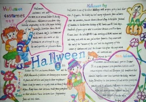 六年级万圣节英语手抄报设计图