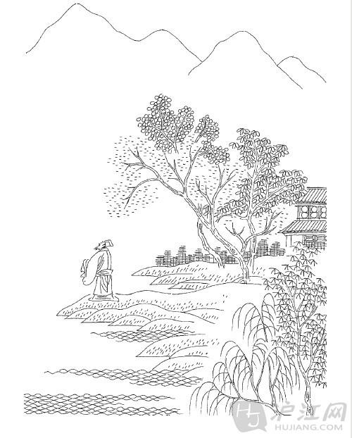 山水手绘图小学