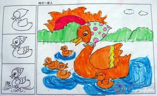 小鸭子简笔画 我最喜欢的小鸭子