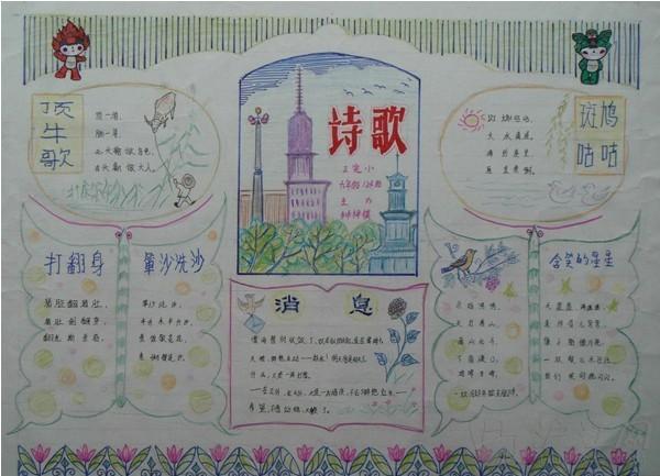 诗歌手抄报:诗歌城堡_五年级课外阅读图片