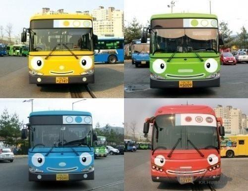 首尔街头现卡通公交车 深受小朋友喜爱