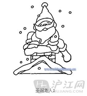 手抄报花边:圣诞节简笔画圣诞老人4