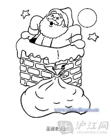手抄报花边:圣诞节简笔画圣诞老人8-打印版式