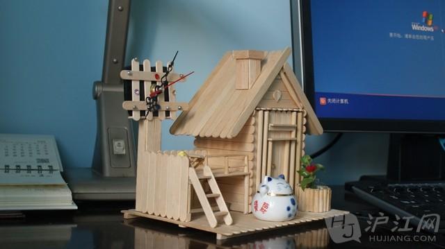 冰棒棍搭建小木屋【手工制作小木屋】