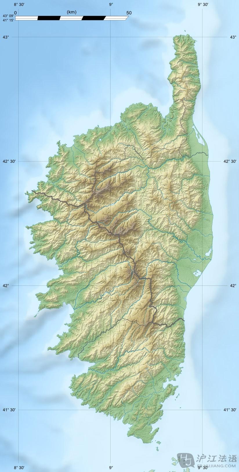 >>科西嘉岛地形图