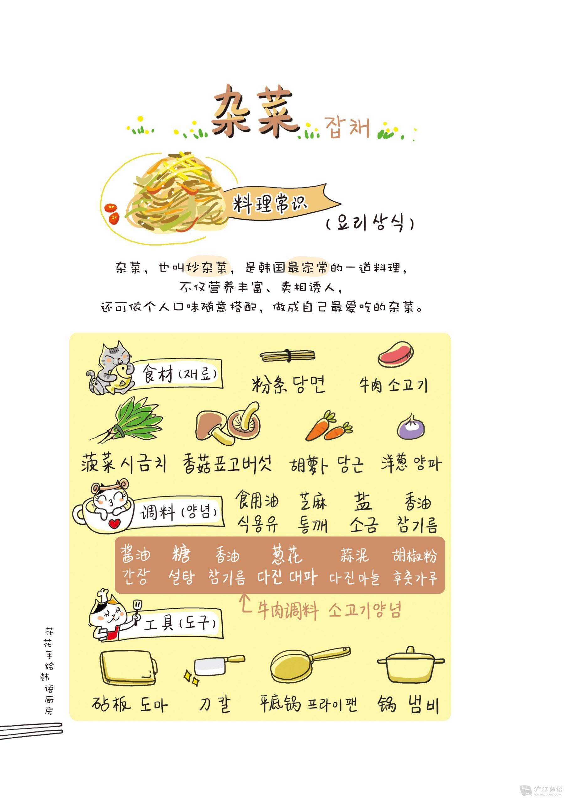 新书试读:《花花手绘韩语厨房》之杂菜