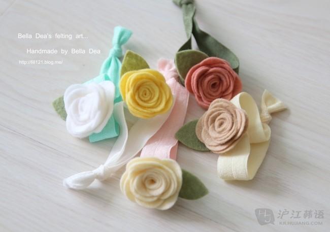 diy不织布可爱玫瑰花发卡