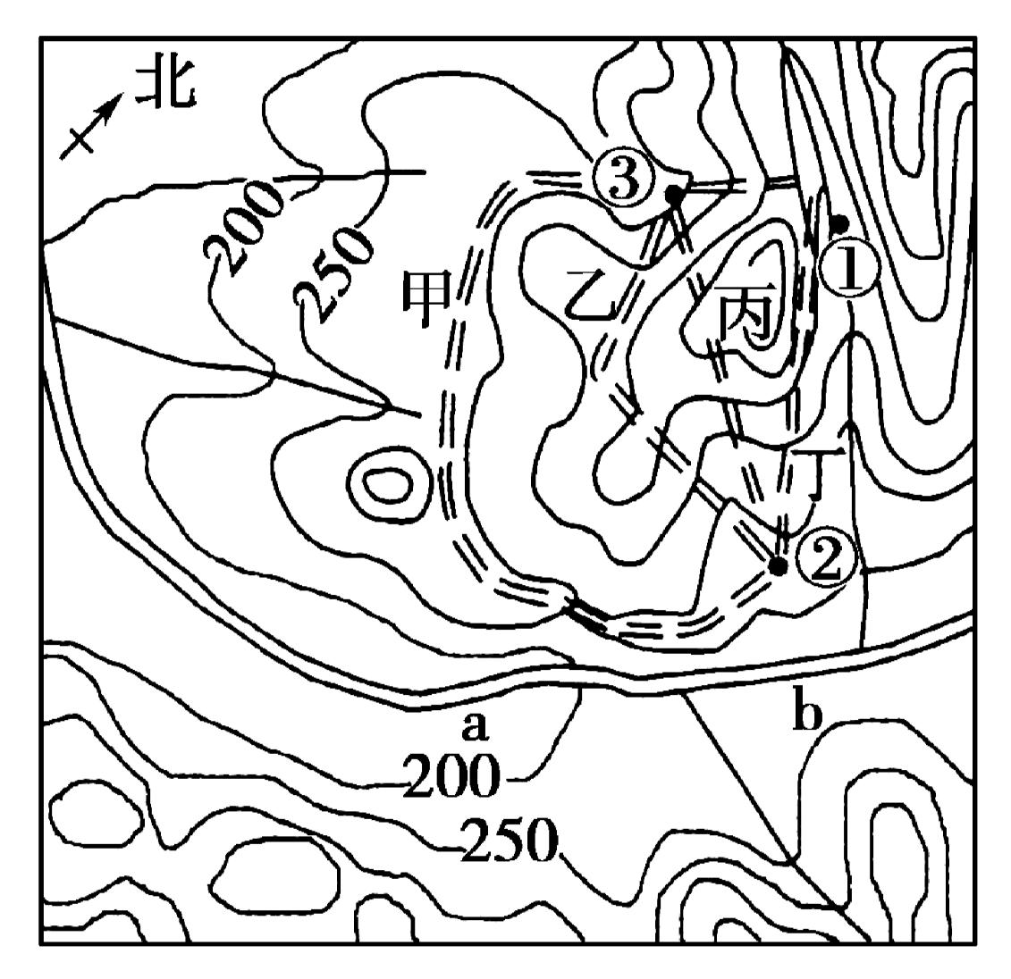 读某地等高线地形图(单位:m),完成1~3题.1.ab段河流流向是[]a.自