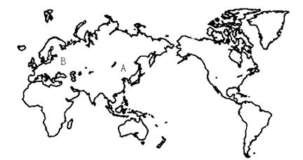 读世界地图,回答1—3题.