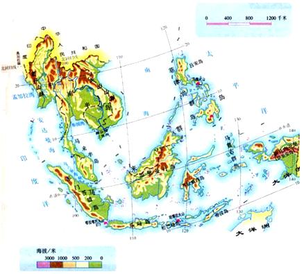 """读地图册中""""东南亚"""",回答"""