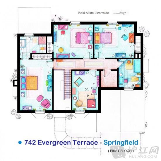 手绘美剧公寓平面图:走进主人公家中看一看吧!