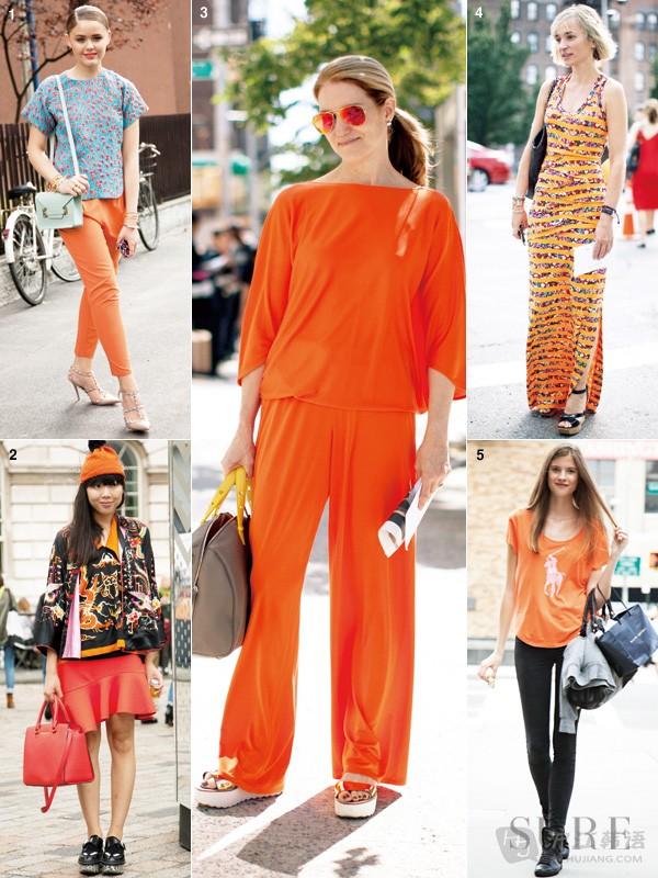 明星橙色衣服搭配图片