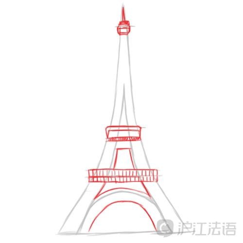 埃菲尔铁塔简笔画 夜洒巴黎铁塔图片